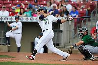 Cedar Rapids Kernels Zander Wiel (21) swings during the game against the Clinton LumberKings at Veterans Memorial Stadium on April 16, 2016 in Cedar Rapids, Iowa.  Cedar Rapids won 7-0.  (Dennis Hubbard/Four Seam Images)