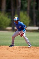 Toronto Blue Jays shortstop Orelvis Martinez (16) during a Minor League Extended Spring Training game against the Detroit Tigers on May 23, 2019 at TigerTown in Lakeland, Florida.  (Mike Janes/Four Seam Images)