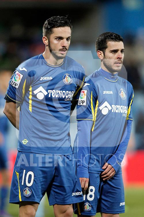 Getafe's Pablo Sarabia (l) and Victor Rodriguez during La Liga match. February 27,2016. (ALTERPHOTOS/Acero)