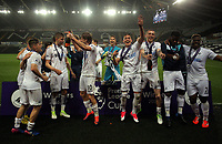 Pictured: Swansea players celebrate their win Monday 15 May 2017<br />Re: Premier League Cup Final, Swansea City FC U23 v Reading U23 at the Liberty Stadium, Wales, UK