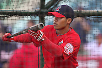 Alexi Amarista #28 of the Los Angeles Angels practices bunting during batting practice before game against the Atlanta Braves at Angel Stadium in Anaheim,California on May 21, 2011. Photo by Larry Goren/Four Seam Images
