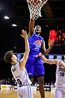 Romaro Gill of the Wellington Saints dunks the ball during the NBL match between the Wellington Saints and the Auckland Huskies at TSB Bank Arena, Wellington, New Zealand on Friday 28 May 2021.<br /> Photo by Masanori Udagawa. <br /> www.photowellington.photoshelter.com