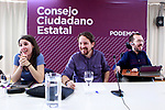 Irene Montero, Speaker in Congress (l), Pablo Iglesias, General Secretary (c) and Pablo Echenique, Secretary of Organization, during the Consejo Ciudadano Estatal - State Citizen Council of Podemos. (ALTERPHOTOS/Acero)
