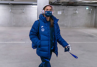 LE HAVRE, FRANCE - APRIL 13: Alex Morgan #13 of the USWNT arrives at the stadium before a game between France and USWNT at Stade Oceane on April 13, 2021 in Le Havre, France.