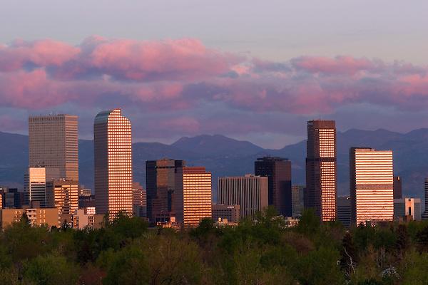 Denver Skyline sunrise, Denver, Colorado, USA John offers private photo tours of Denver, Boulder and Rocky Mountain National Park.