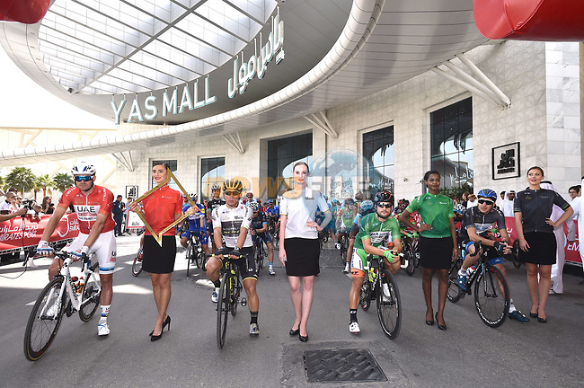 The jersey holders lined up before the start of Stage 2 of the 2018 Abu Dhabi Tour, Yas Island Stage running 154km from Yas Mall to Yas Beach, Abu Dhabi, United Arab Emirates. 22nd February 2018.<br /> Picture: LaPresse/Massimo Paolone | Cyclefile<br /> <br /> <br /> All photos usage must carry mandatory copyright credit (© Cyclefile | LaPresse/Massimo Paolone)