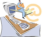 Man sitting on an arrow coming from computer monitor and holding email