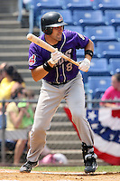 July 7th 2008:  Catcher Damaso Espino of the Akron Aeros, Class-AA affiliate of the Cleveland Indians, during a game at NYSEG Stadium in Binghamton, NY.  Photo by:  Mike Janes/Four Seam Images