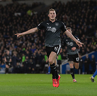 Burnley's Chris Wood celebrates scoring his side's first goal <br /> <br /> Photographer David Horton/CameraSport<br /> <br /> The Premier League - Brighton and Hove Albion v Burnley - Saturday 9th February 2019 - The Amex Stadium - Brighton<br /> <br /> World Copyright © 2019 CameraSport. All rights reserved. 43 Linden Ave. Countesthorpe. Leicester. England. LE8 5PG - Tel: +44 (0) 116 277 4147 - admin@camerasport.com - www.camerasport.com