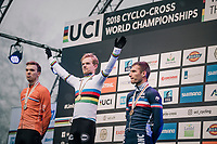 Eli Iserbyt (BEL/Marlux-Bingoal) winning the World Championships title with defending champion Joris Nieuwenhuis (NED/Sunweb) finishing 2nd and Yan Gras (FRA) 3rd<br /> <br /> U23 Men's Race<br /> UCI CX Worlds 2018<br /> Valkenburg - The Netherlands