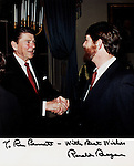 """President Ronald Reagan and Ron Bennett White House, 40th President of the United States Ronald Wilson Reagan, Ronald Reagan was 33rd Governor of California began a career as an actor first in films then television appearing in 52 movie productions served as president of the Screen Actors Guild originally a member of the Democratic Party switched to the Republican Party in 1962, President Reagan implemented sweeping new political and economic initiatives supply-side economic policies dubbed """"Reaganomics"""" controlling the money supply to reduce inflation and spurring economic growth by reducing tax rates took a hard line against labor unions and ending of Cold War,"""