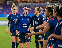 ORLANDO, FL - FEBRUARY 24: Megan Rapinoe #15 of the USWNT warms up before a game between Argentina and USWNT at Exploria Stadium on February 24, 2021 in Orlando, Florida.