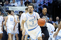 CHAPEL HILL, NC - MARCH 03: Cole Anthony #2 of the University of North Carolina brings the ball up the court during a game between Wake Forest and North Carolina at Dean E. Smith Center on March 03, 2020 in Chapel Hill, North Carolina.