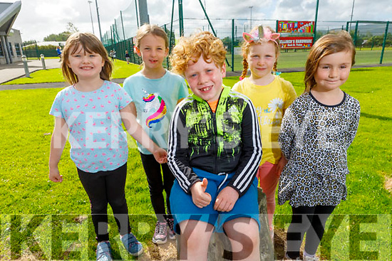 Enjoying the Sports Camp at the Tralee Sports Complex on Monday.<br /> Seated l to r: Tadgh Counihan, <br /> Standing l to r: Emily Ann Duggan, Harriet Mary Ryan, Ina Horan and Carly O'Shea