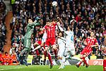 Real Madrid Keylor Navas, Raphael Varane and Sergio Ramos and Bayern Munich Robert Lewandowski during Semi Finals UEFA Champions League match between Real Madrid and Bayern Munich at Santiago Bernabeu Stadium in Madrid, Spain. May 01, 2018. (ALTERPHOTOS/Borja B.Hojas)