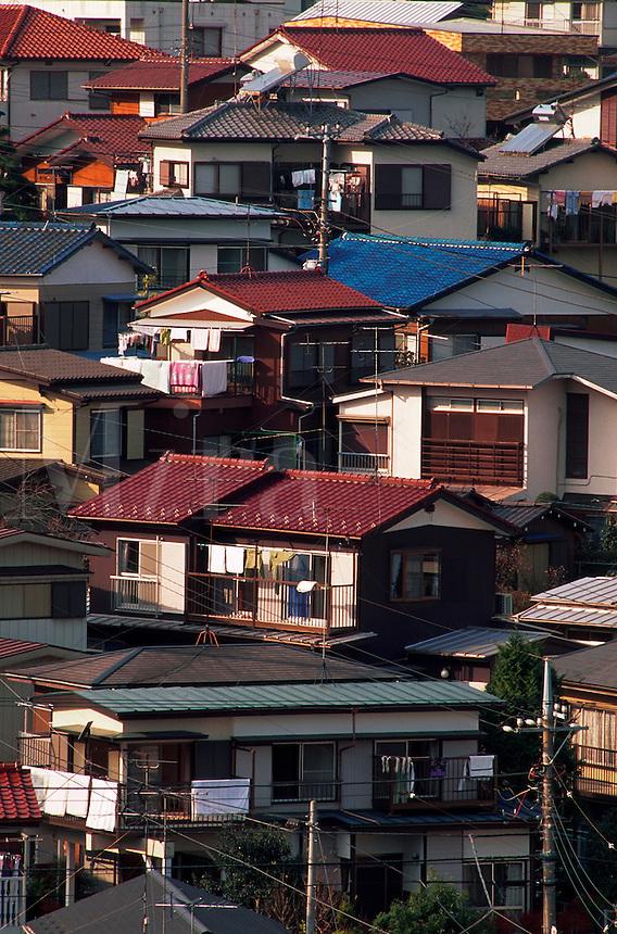 Aerial view of houses in a residential Yokohama neighborhood. Yokohama, Totsuka district, Japan.