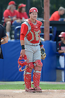 Williamsport Crosscutters catcher Andrew Knapp (13) during a game against the Batavia Muckdogs on September 2, 2013 at Dwyer Stadium in Batavia, New York.  Batavia defeated Williamsport 6-3.  (Mike Janes/Four Seam Images)