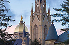 April 4, 2016; Golden Dome with the statue of Mary atop the Main Building and the Basilica of the Sacred Heart steeple before sunset. Photo by Barbara Johnston/University of Notre Dame (Photo by Barbara Johnston/University of Notre Dame)