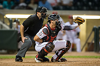 Billings Mustangs catcher Pabel Manzanero (64) has the ball hit off his glove as home plate umpire Phil Bando looks on during the game against the Missoula Osprey at Dehler Park on August 21, 2017 in Billings, Montana.  The Osprey defeated the Mustangs 10-4.  (Brian Westerholt/Four Seam Images)