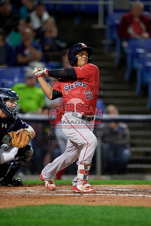Portland Sea Dogs catcher Jhon Nunez (20) hits a foul ball during a game against the Binghamton Rumble Ponies on August 31, 2018 at NYSEG Stadium in Binghamton, New York.  Portland defeated Binghamton 4-1.  (Mike Janes/Four Seam Images)