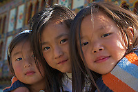 Young Girls at the Traditional Village of Sopsokha, Punakha District, Bhutan