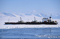 Tanker in ice to refuel McMurdo station. It arrives once a year for the years supply of fuel, Antarctica