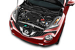 Car Stock 2015 Nissan Juke Acenta 5 Door Suv Engine high angle detail view