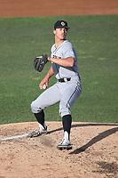 Drew Thorpe (33) of the Cal Poly San Luis Obispo Mustangs pitches against the UC Santa Barbara Gauchos at Caesar Uyesaka Stadium on April 30, 2021 in Santa Barbara, California. (Larry Goren/Four Seam Images)