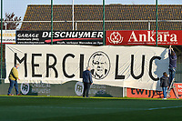 Banner merci Luc pictured before a female soccer game between  AA Gent Ladies and Club Brugge YLA on the third matchday of play off 1 in the 2020 - 2021 season of Belgian Scooore Womens Super League , friday 23 th of April 2020  in Oostakker , Belgium . PHOTO SPORTPIX.BE | SPP | STIJN AUDOOREN