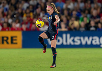 ORLANDO, FL - MARCH 05: Becky Sauerbrunn #4 of the United States controls the ball during a game between England and USWNT at Exploria Stadium on March 05, 2020 in Orlando, Florida.