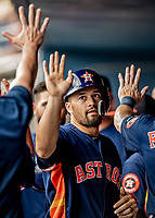 27 February 2019: Houston Astros infielder Nick Tanielu returns to the dugout after scoring against the Washington Nationals at the Ballpark of the Palm Beaches in West Palm Beach, Florida. The Nationals defeated the Astros 14-8 in their Spring Training Grapefruit League matchup. Mandatory Credit: Ed Wolfstein Photo *** RAW (NEF) Image File Available ***