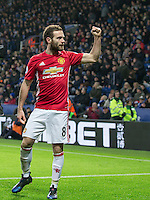 Juan Mata of Manchester United  punches the air following his goal during the Premier League match between Leicester City and Manchester United at the King Power Stadium, Leicester, England on 5 February 2017. Photo by PRiME Media Images / Andy Rowland.