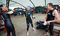 17 AUG 2011 - NORWICH, GBR - Iain Dawson (centre) jokes with clubmates before a Tri-Anglia aquathlon at Whitlingham Outdoor Centre (PHOTO (C) NIGEL FARROW)