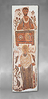 The Christian Eastern Roman Byzantine memorial funerary mosaic of a father and daughter, the father is sitting at a bankers desk. Thabarca, Tabarks, 5th Century AD, Bardo Museum, Tunis. Grey background