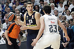 Real Madrid's Sergio Llull (r) and Fenerbahce Istambul's Bogdan Bogdanovic during Euroleague Quarter-Finals 3rd match. April 19,2016. (ALTERPHOTOS/Acero)
