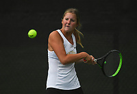 Bentonville's Emily Ferm hits, Monday, October 11, 2021 during the 6A state girls and boys tennis tournament at Memorial Park in Bentonville. Check out nwaonline.com/211012Daily/ for today's photo gallery. <br /> (NWA Democrat-Gazette/Charlie Kaijo)