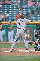 Oscar Mercado (12) of the Memphis Redbirds bats against the Salt Lake Bees at Smith's Ballpark on July 24, 2018 in Salt Lake City, Utah. Memphis defeated Salt Lake 14-4. (Stephen Smith/Four Seam Images)