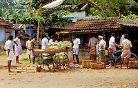 Vegetable vendors in the market area of Valicau's village square town, also called Valicaryu Village, Kerala state, India