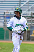 Beloit Snappers outfielder Lazaro Armenteros (8) during a Midwest League game against the Quad Cities River Bandits on May 20, 2018 at Pohlman Field in Beloit, Wisconsin. Beloit defeated Quad Cities 3-2. (Brad Krause/Four Seam Images)