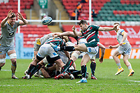 20th February 2021; Welford Road Stadium, Leicester, Midlands, England; Premiership Rugby, Leicester Tigers versus Wasps; Richard Wigglesworth of Leicester Tigers kicks the ball for field position after a maul