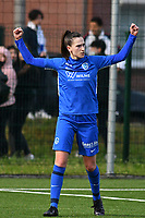 Gwen Duijsters (13) of KRC Genk celebrating her goal pictured during a female soccer game between  Racing Genk Ladies and SV Zulte-Waregem on the 7 th matchday of play off 2 in the 2020 - 2021 season of Belgian Scooore Womens Super League , friday 14 th of May 2021  in Genk , Belgium . PHOTO SPORTPIX.BE   SPP   JILL DELSAUX