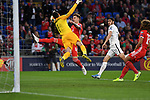 Cardiff - UK - 6th September :<br />Wales v Azerbaijan European Championship 2020 qualifier at Cardiff City Stadium.<br />Joe Rodon of Wales has a go at the Azerbaijan goalkeeper Salahat Agayev early in the first half.<br /><br />Editorial use only