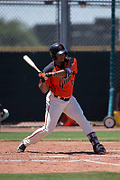 San Francisco Giants Orange left fielder Franklin Labour (49) at bat during an Extended Spring Training game against the Seattle Mariners at the San Francisco Giants Training Complex on May 28, 2018 in Scottsdale, Arizona. (Zachary Lucy/Four Seam Images)