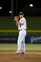 Mesa Solar Sox relief pitcher Daniel Procopio (31), of the Los Angeles Angels organization, gets ready to deliver a pitch during an Arizona Fall League game against the Scottsdale Scorpions at Sloan Park on October 10, 2018 in Mesa, Arizona. Scottsdale defeated Mesa 10-3. (Zachary Lucy/Four Seam Images)