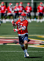 1 May 2021: Stony Brook University Seawolves Midfielder Tom Dugan, a Graduate Student from Commack, NY, in action against the University of Vermont Catamounts at Virtue Field in Burlington, Vermont. The Cats edged out the Seawolves 14-13 with less than one second to play in their America East Men's Lacrosse matchup. Mandatory Credit: Ed Wolfstein Photo *** RAW (NEF) Image File Available ***