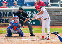 30 April 2017: Washington Nationals third baseman Anthony Rendon connects in the 3rd inning against the New York Mets at Nationals Park in Washington, DC. The Nationals defeated the Mets 23-5, with the Nationals setting several individual and team records, in the third game of their weekend series. Mandatory Credit: Ed Wolfstein Photo *** RAW (NEF) Image File Available ***