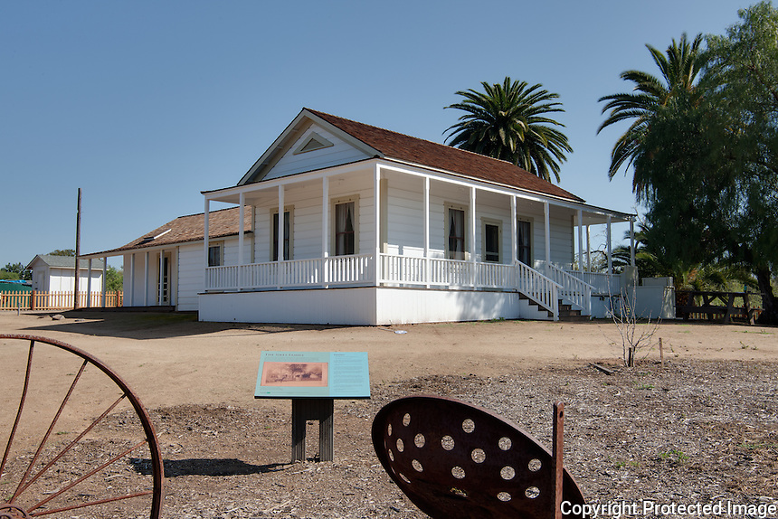 Sikes Adobe Farmstead Restoration, Escondido. The Farmhouse (1870-1872) was damaged in the 2007 Witch Creek Wildfire. Ione Stiegler, FAIA, Architect did the restoration. reconstruction & seismic stabilization in 2010. Photo by Larny J. Mack.