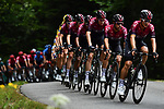 The peloton led by Team Ineos in action during Stage 1 of Criterium du Dauphine 2020, running 2185km from Clermont-Ferrand to Saint-Christo-en-Jarez, France. 12th August 2020.<br /> Picture: ASO/Alex Broadway | Cyclefile<br /> All photos usage must carry mandatory copyright credit (© Cyclefile | ASO/Alex Broadway)