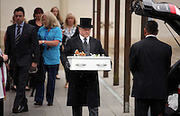 Pictured: The coffin carrying baby Sion is brought out after the service at Briwnant Chapel at Thornhill Cemetery, Cardiff, Wales, UK. Tuesday 28 June 2016<br /> Re: The funeral of Sion, the baby boy found dead in the River Taff in Cardiff has taken place<br /> Generous locals raised nearly £1,400 for the memorial after reading about plans to hold a fitting ceremony for the newborn baby whose body was discovered in Cardiff a year ago.<br /> The funeral took place at the Briwnant Chapel at Thornhill Crematorium, Cardiff. Members of the public are invited to be among the congregation.