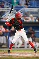 Batavia Muckdogs right fielder Brayan Hernandez (41) at bat during the first game of a doubleheader against the Mahoning Valley Scrappers on August 28, 2017 at Dwyer Stadium in Batavia, New York.  Mahoning Valley defeated Batavia 6-3.  (Mike Janes/Four Seam Images)
